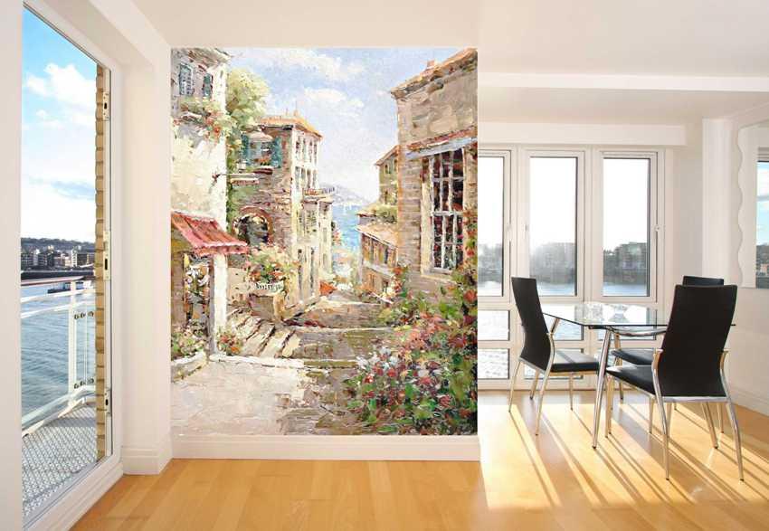 Городской пейзаж - популярная тема для оформления стен в интерьере