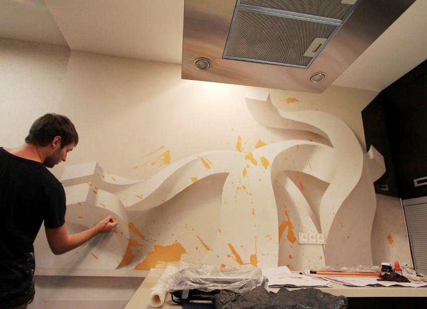 Процесс нанесения 3D-рисунка на стену в кухне