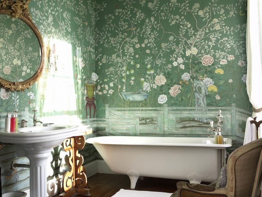 Растительный орнамент в оформлении ванной комнаты