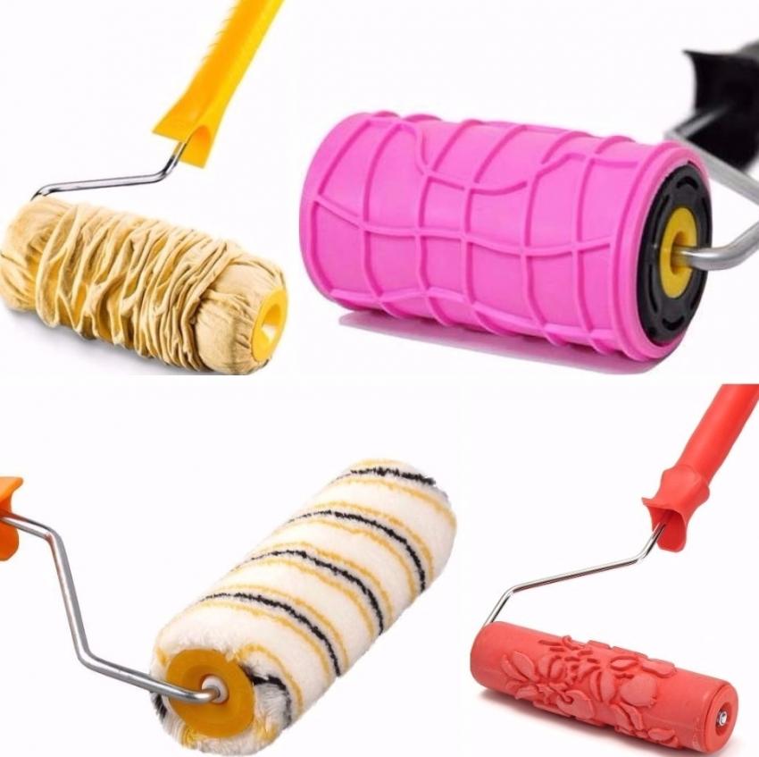 Декоративные валики можно использовать для создания фактуры на сырой штукатурке