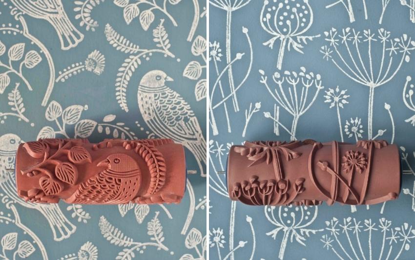 Декоративный резиновый валик может иметь разную фактуру, с помощью которой можно создать интересные рисунки и орнаменты на стене