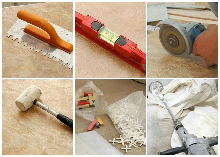 Основной набор инструментов для укладки плитки