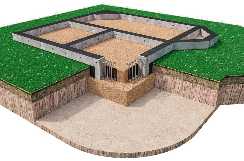 3D схема обустройства фундамента для частного дома
