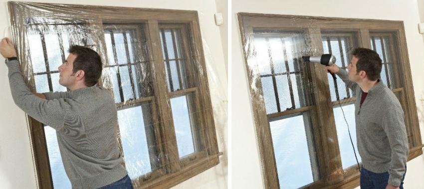 Процесс утепления деревянного окна полиэтиленовой плёнкой