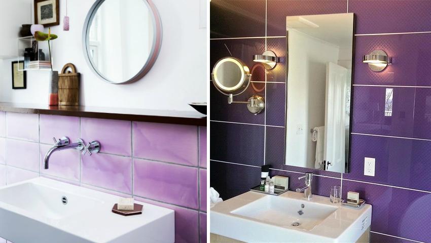 Плитку лилового цвета следует использовать в качестве ярких акцентов, а не для отделки всех поверхностей ванной комнаты