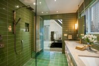 Оливковый цвет для оформления ванной считается трендом 2017 года