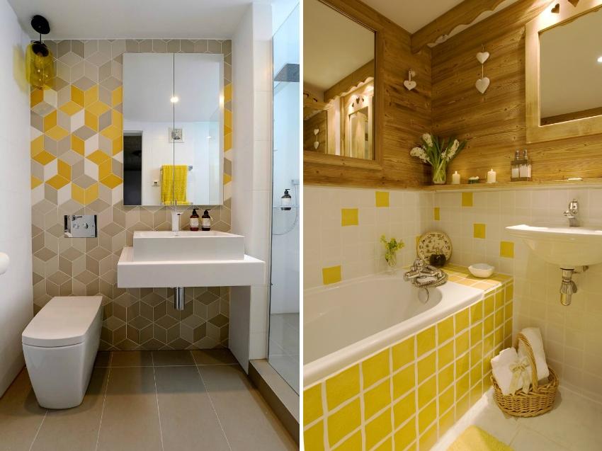 Пример частичного использования желтой плитки в интерьере ванной