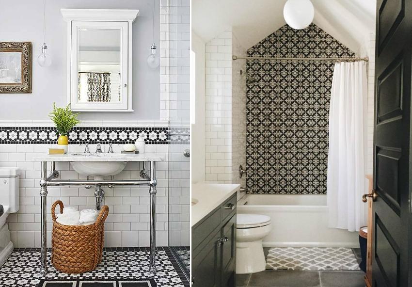 Черно-белая плитка в виде мозаики красиво смотрится в интерьере ванной комнаты