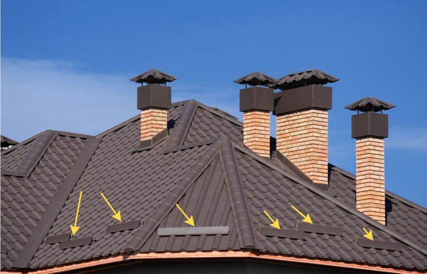Пример расположения уголковых снегогозадержателей на крыше, покрытой металлочерепицей