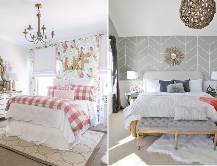 Пастельные оттенки обоев с цветочным или геометрическим рисунком подходят для интерьеров в стиле кантри и прованс