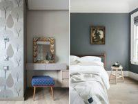 Для отделки стен в спальне лучше использовать серые обои светлых оттенков