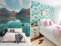 Акцентную стену в спальне можно выделить обоями с ярким рисунком или орнаментом