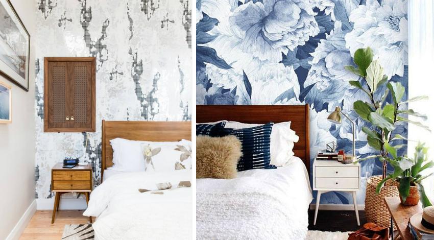 Для современного интерьера спальни можно использовать обои с акварельными рисунками