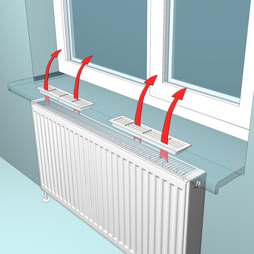 Установка конвекционных решеток в подоконнике позволяет избежать проблемы повышенной влажности и как следствие запотевания окон