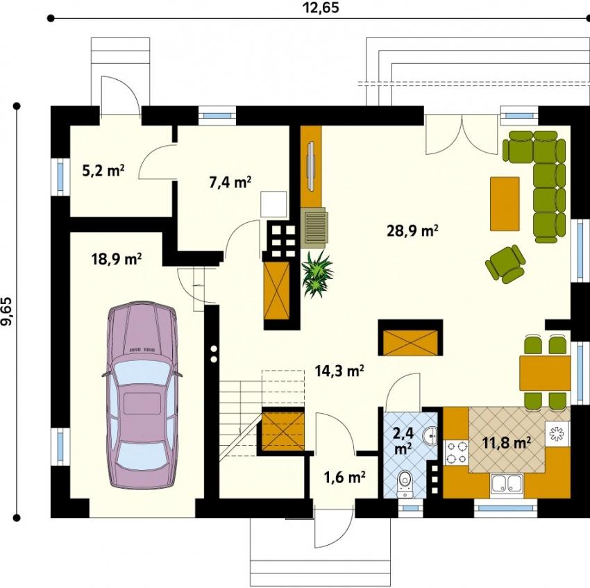 Размещение гаража в двухэтажном доме необходимо планировать еще на этапе проектирования