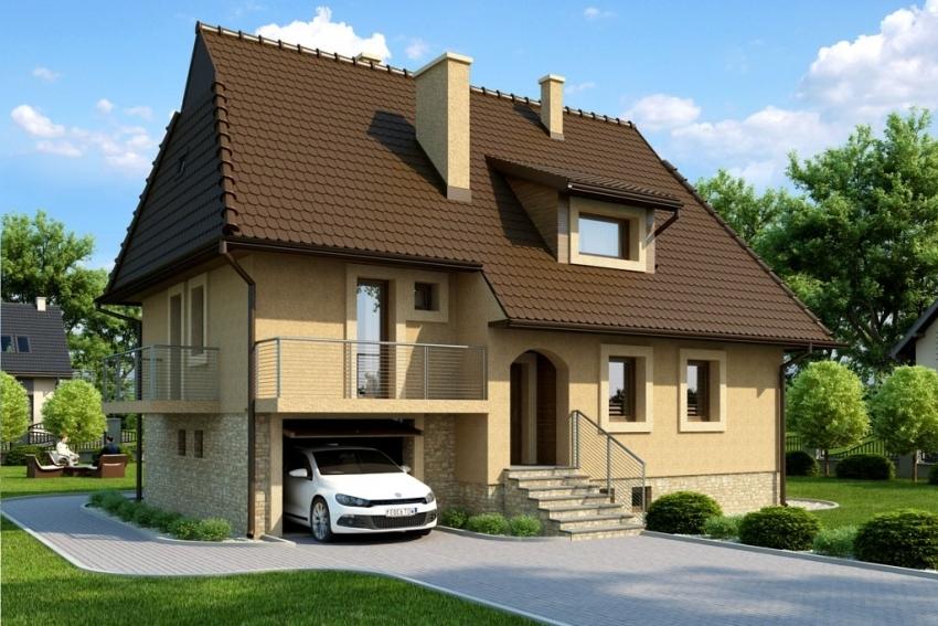 3D проект строения с мансардой, который предполагает одновременное возведение дома и гаража