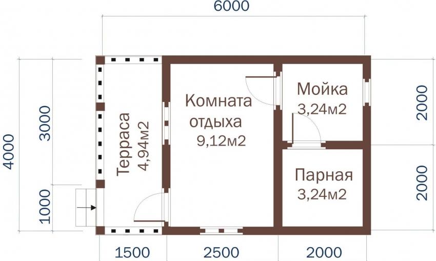 Пример схемы планировки бани с террасой 6х4 м