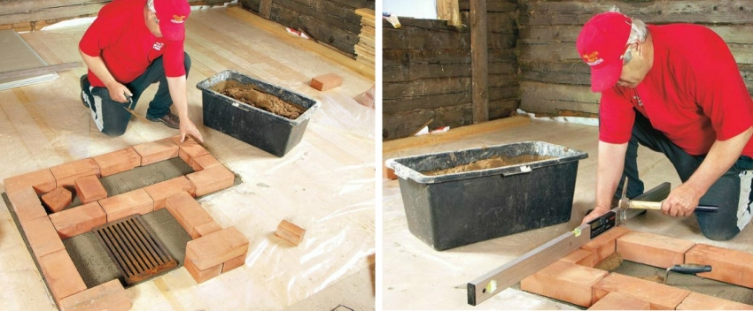 При постройке подиума под установку печи важно использовать подготовленный огнеупорный кирпич