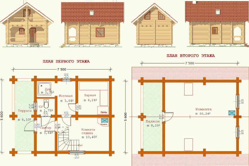 План планировки двухэтажной бани с террасой 7,5х5,6 м