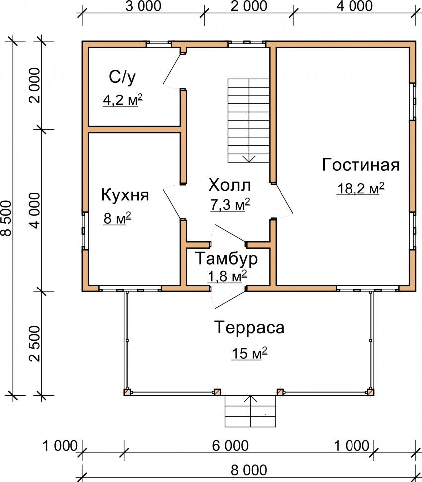 Схема проекта дома из бревна с террасой