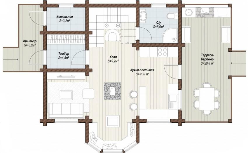 Схема проекта одноэтажного дома с террасой