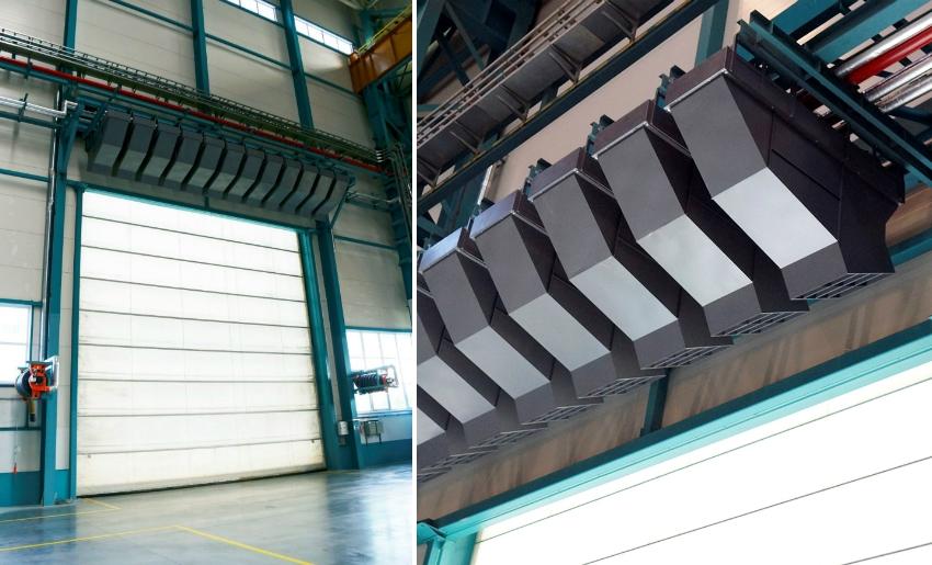 Для больших складских помещений используются мощные водяные тепловые завесы