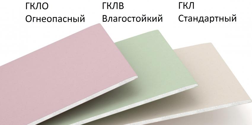 О дополнительных свойствах или типе гипсокартоннго листа говорит цвет поверхности материала а его маркировка