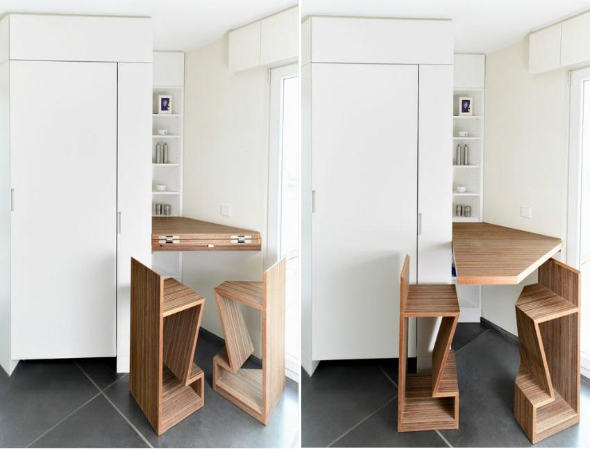 Складная мебель - лучший вариант для малогабаритной кухни