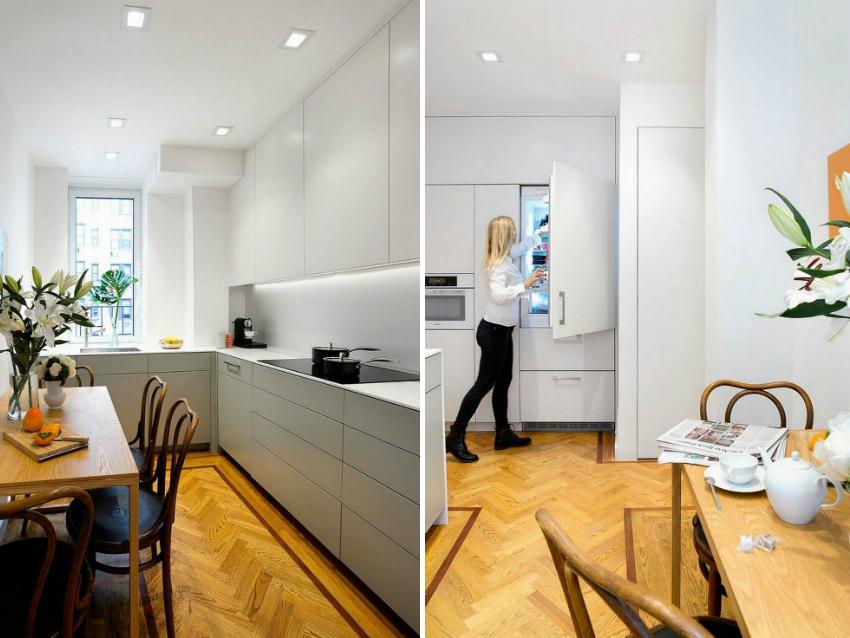 При небольшом пространстве кухни, холодильник и нагревательный прибор лучше переместить в другие помещения, например в ванную или коридор