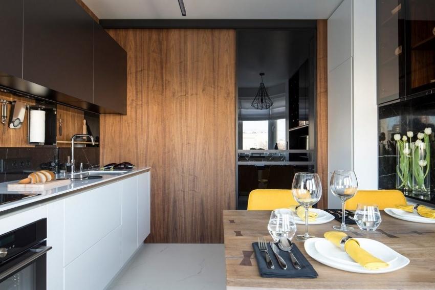 Раздвижные двери помогут сэкономить полезную площадь на кухне
