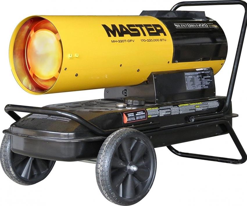 Мобильные тепловые пушки оснащены колесами и ручкой для удобного перемещения прибора