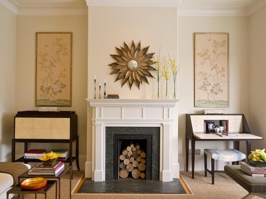 Имитация камина из гипсокартона, декорированная настоящими поленьями
