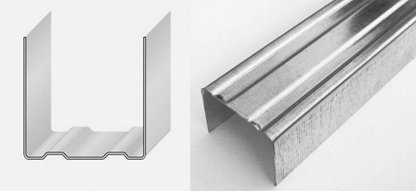 Для крепления листов гипсокартона используют П-образный металлический профиль