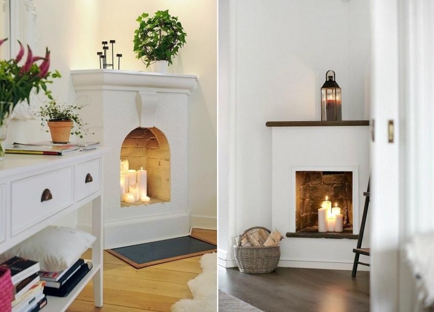В маленькой комнате можно соорудить компактную угловую конструкцию, имитирующую камин