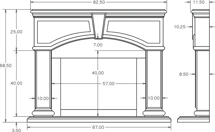 В чертеже должны быть указаны размеры каждого элемента будущего камина