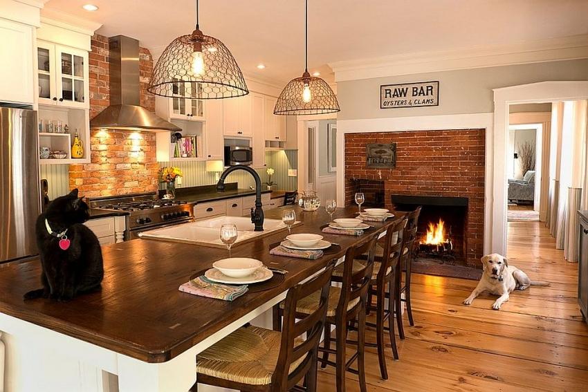 Некоторые конструкции печи-камина предполагают наличие специального места для приготовления пищи