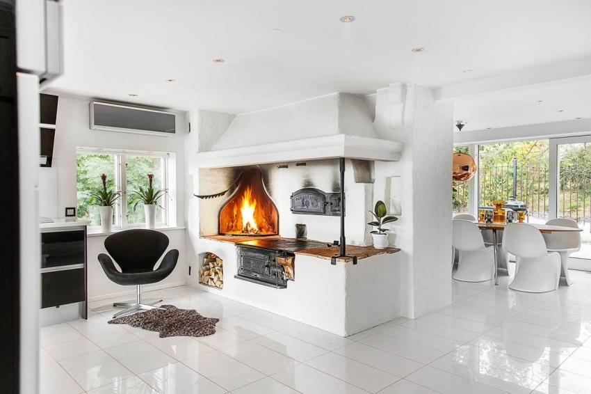Установка печи-камина требует достаточного наличия свободного пространства, поэтому его рекомендуется использовать только для больших комнат или студий
