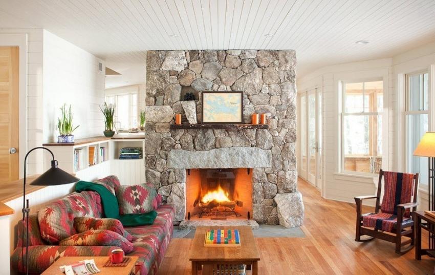 Для отделки камина часто используется искусственный камень, который не несет большой нагрузки на стену, в отлитии от натурального