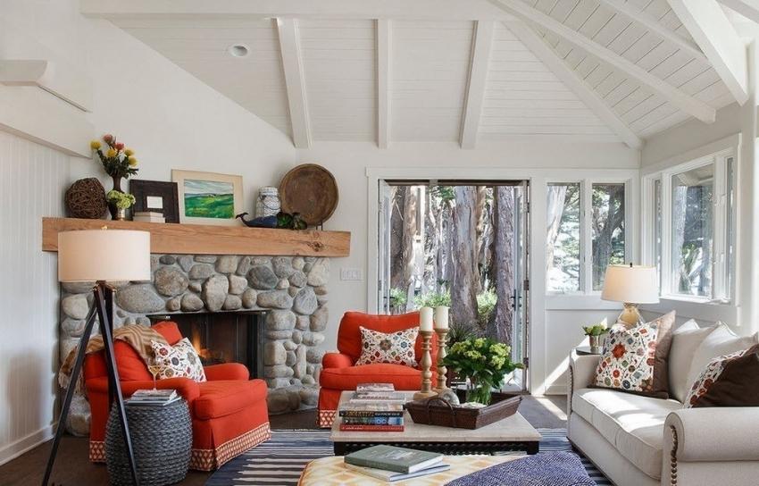 Установка углового камина позволяет максимально рационально использовать имеющиеся пространство гостиной комнаты