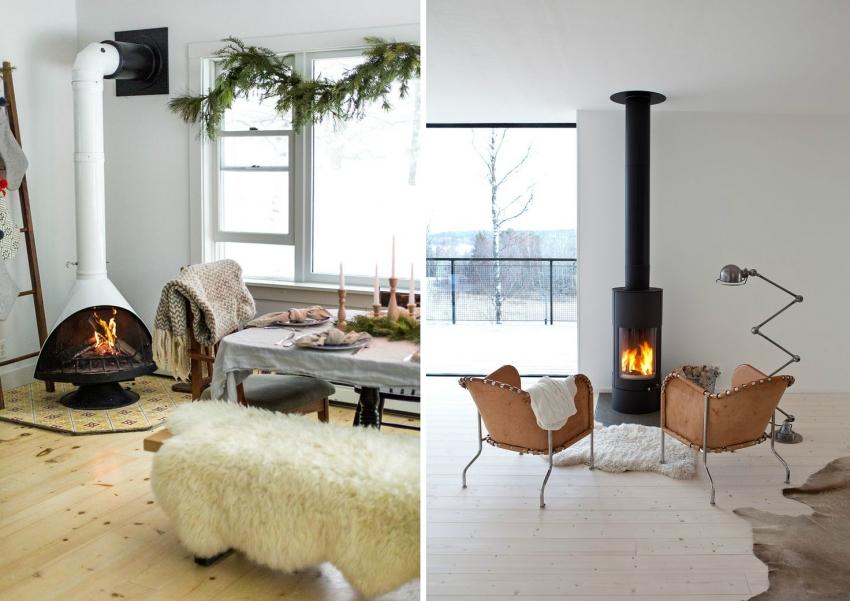 Скандинавский стиль в интерьере предполагает использование белого цвета как основного, поэтому стоит отдать предпочтение каминам строгой формы монохромных оттенков
