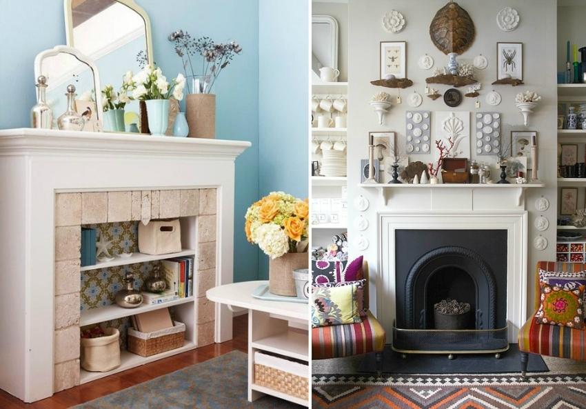 Оформление зоны возле камина должно соответствовать стилю интерьера комнаты
