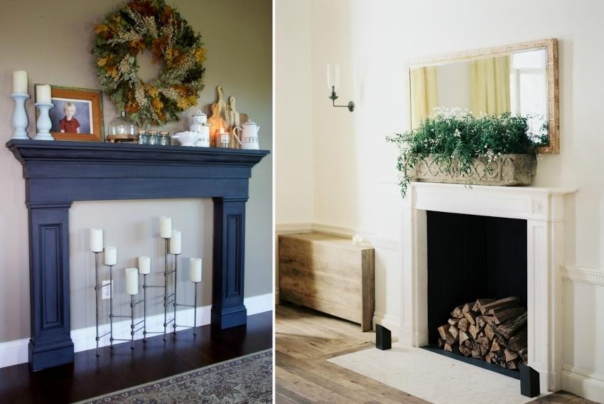 Фальш камин можно украсить с помощью ароматических свечей или натуральных поленьев