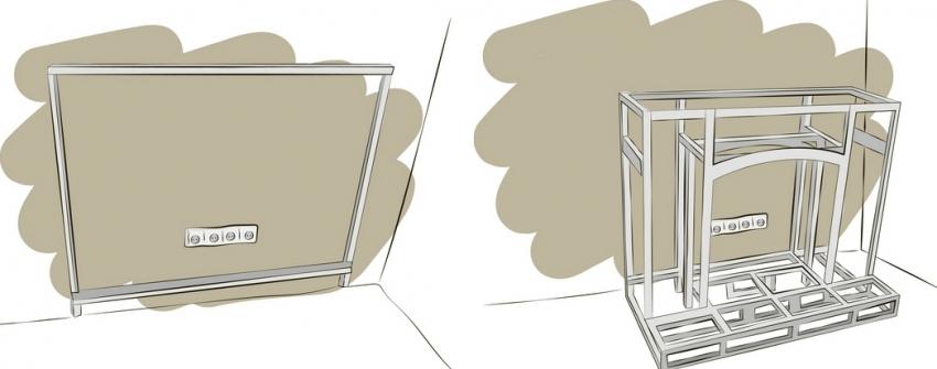 Для строительства портала для камина необходимо произвести разметку и разработать схему конструкции из металлопрофилей