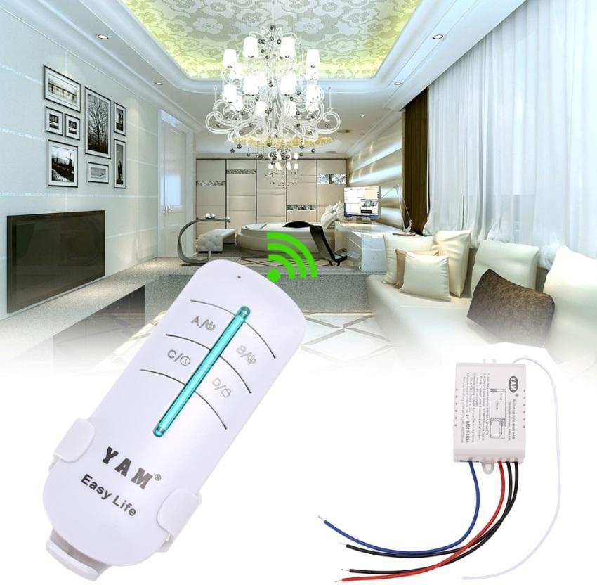 Люстра с пультом управления отличается от обычного потолочного светильника наличием в конструкции специального радиоуправляемого блока, выполняющего функцию беспроводного выключателя