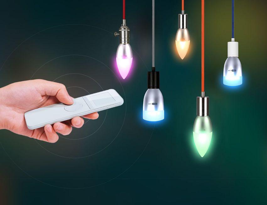 Благодаря пульту управления можно включить абсолютно все лампочки или же только их часть и сделать свет в комнате более приглушенным