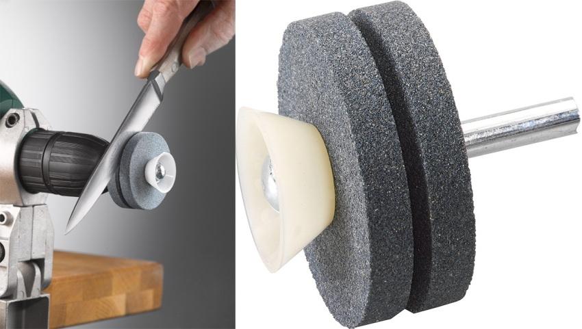Насадка для заточки ножей и ножниц для дрели проста в эксплуатации, не требует специальных навыков в ее использовании