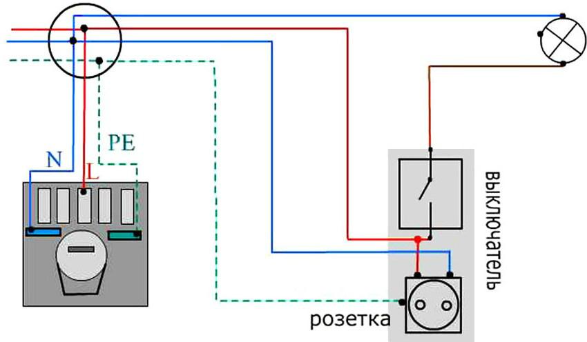 Схема подключения розетки с выключателем