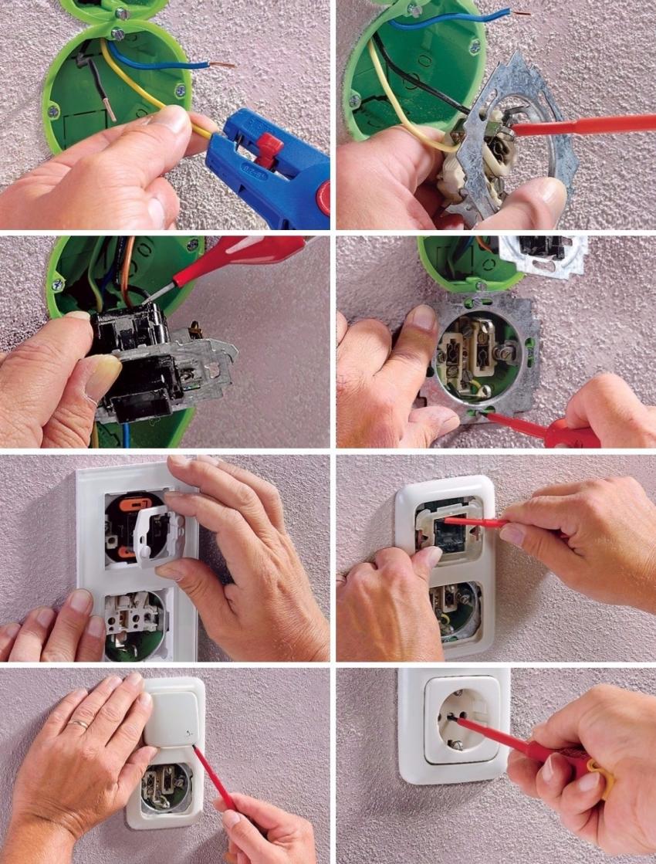 Процесс подключения розетки с выключателем в одном корпусе