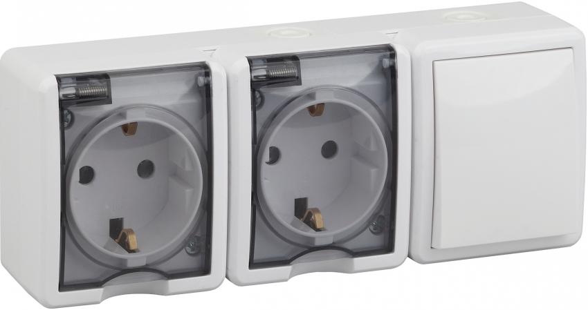 Компания Legrand предлагает покупателям широкий выбор розеток с выключателями как для внутреннего, так для наружного использования