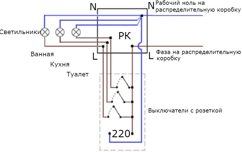 Схема подключения розетки с трехклавишным выключателем